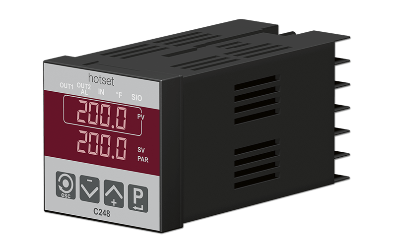 Everything from a single source at hotset: heating element, thermocouple and (shown here) control unit.